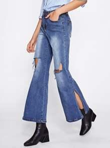 Destroyed Slit Side Flare Jeans