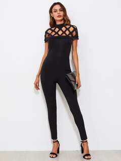 Square Cut Out Yoke Skinny Jumpsuit