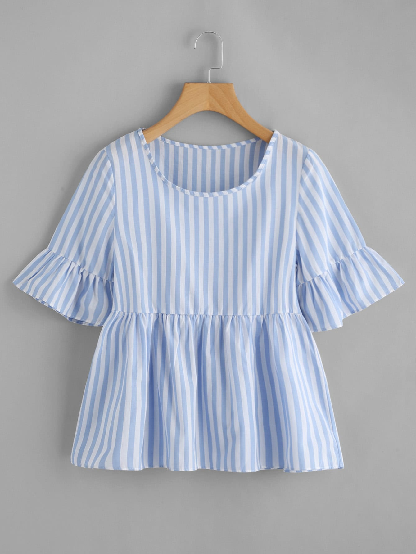 все цены на Contrast Striped Frill Cuff Smock Blouse