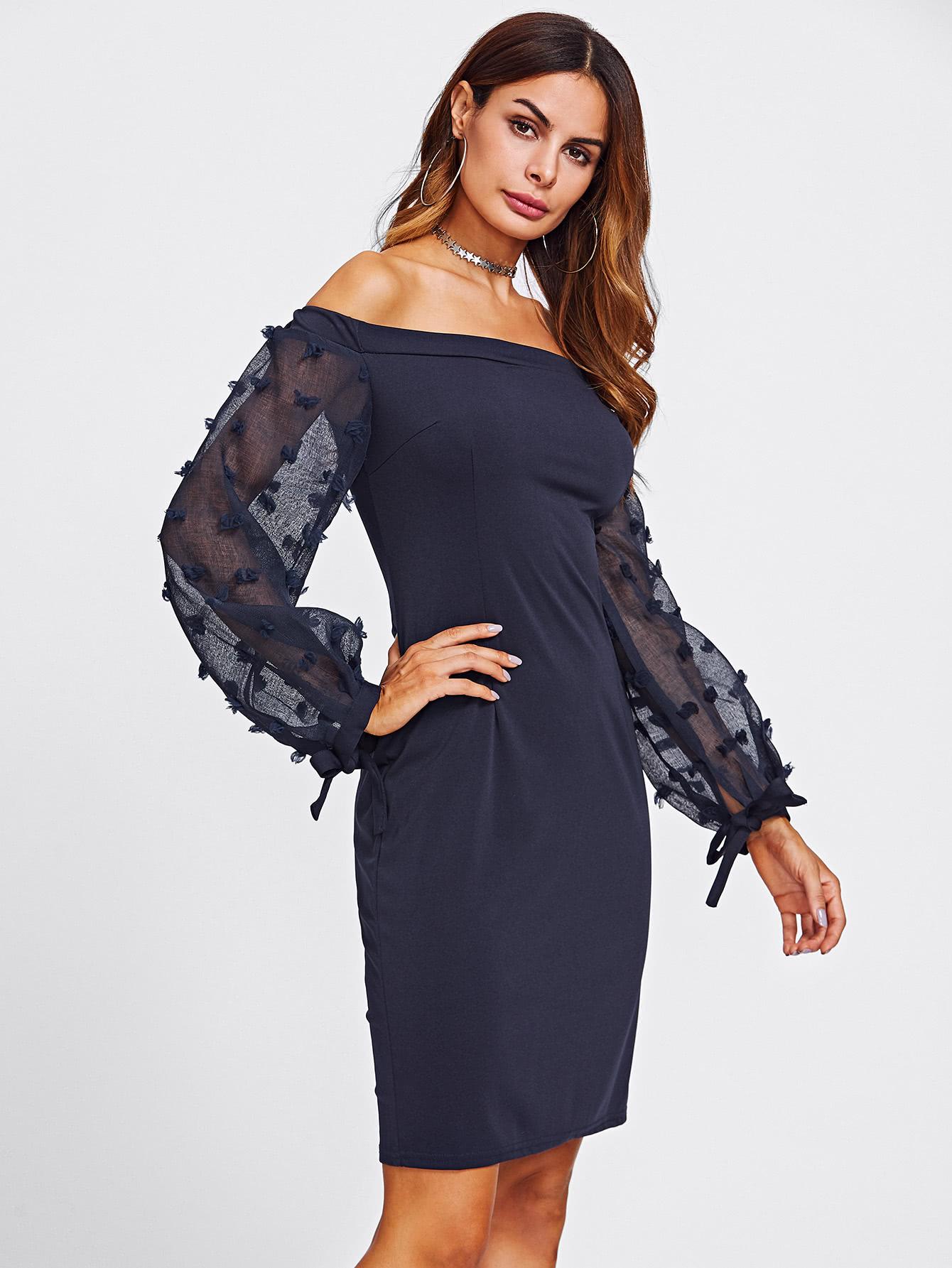 Bardot Jacquard Mesh Sleeve Slit Back Dress bardot pencil dress with embroidered mesh sleeve