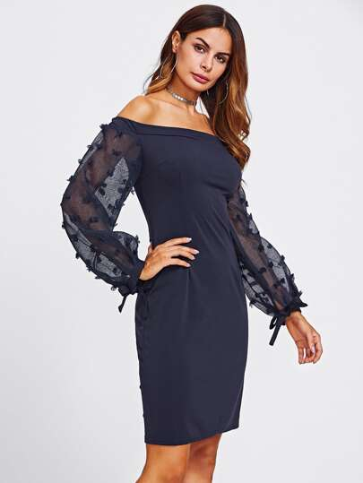 Bardot Jacquard Mesh Sleeve Slit Back Dress