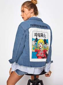Patch Back Distressed Denim Jacket