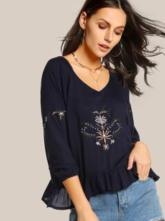 Floral Embroidered Top BLUE