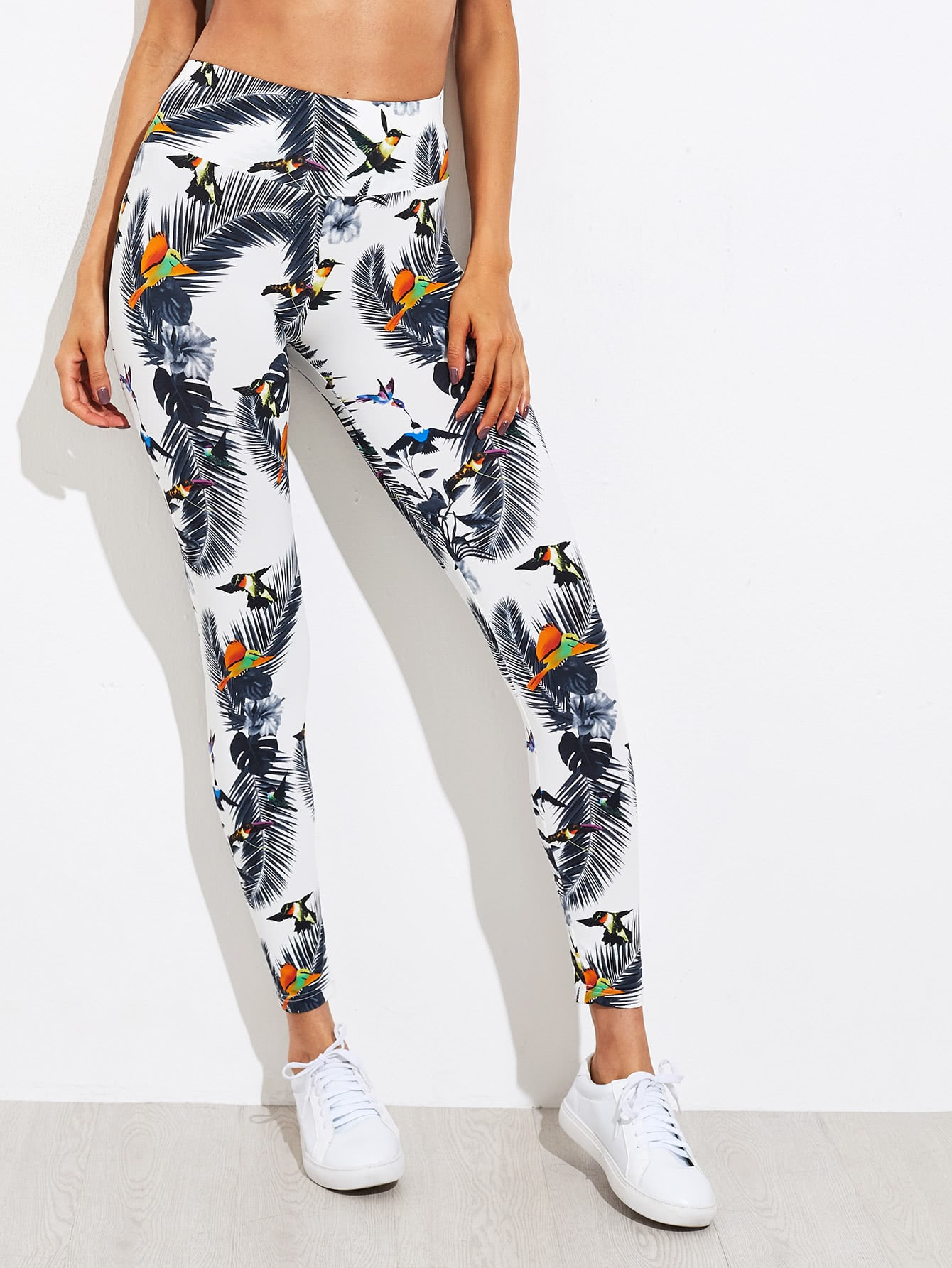 Wide Waistband Tropical Leggings knit wide waistband leggings