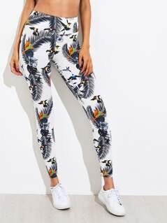 Wide Waistband Tropical Leggings