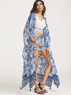 Blue Flower Print Tassel Trim Longline Kimono
