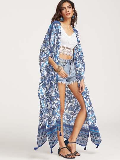 Bleu, fleur, impression, glands, trim, palangre, kimono