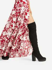 Side Zipper Block Heeled Over The Knee Boots