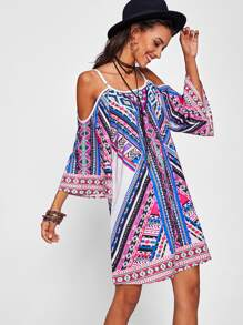 Tribal Print Kimono Sleeve Dress