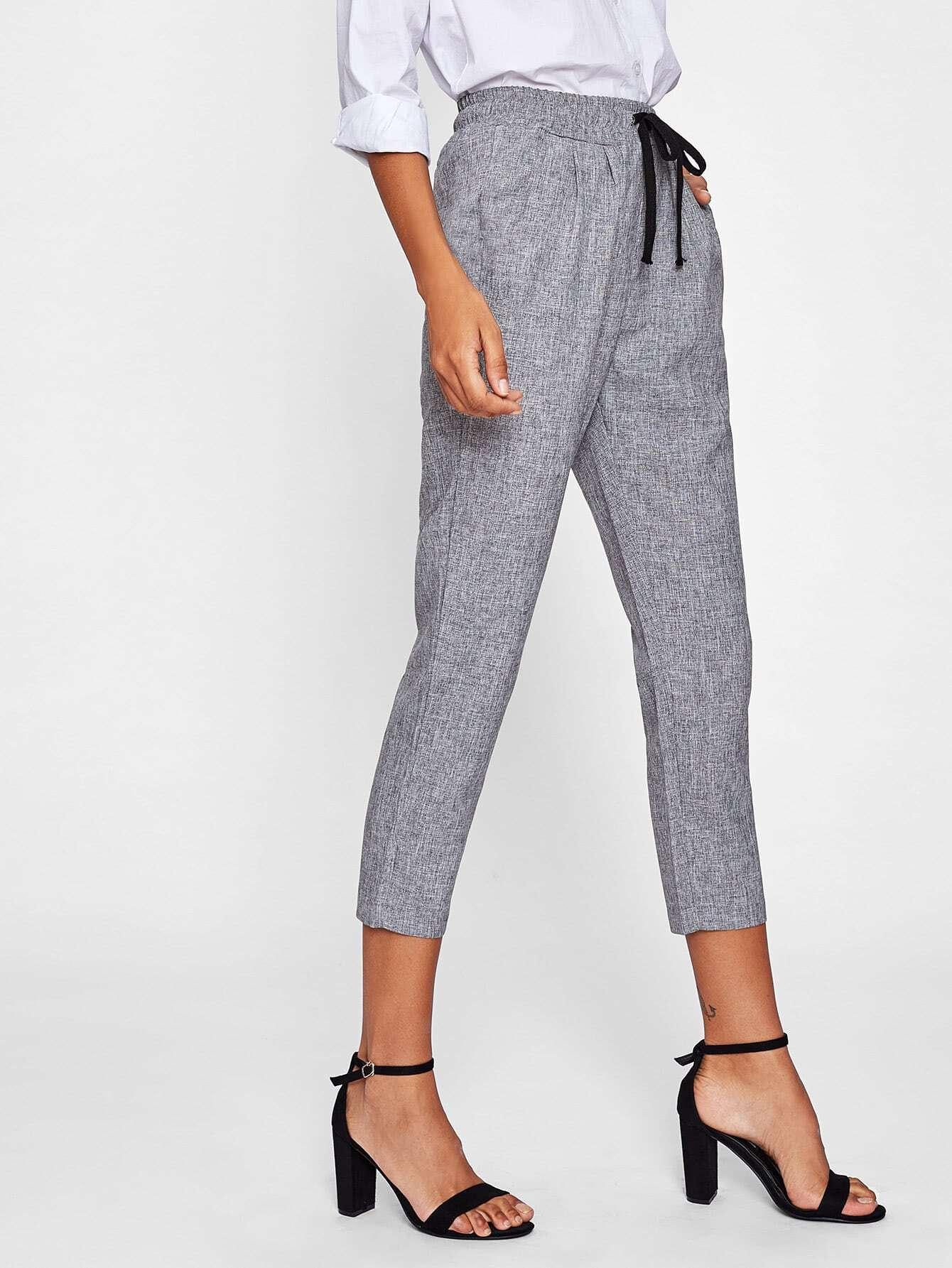 Drawstring Waist Crop Peg Pants
