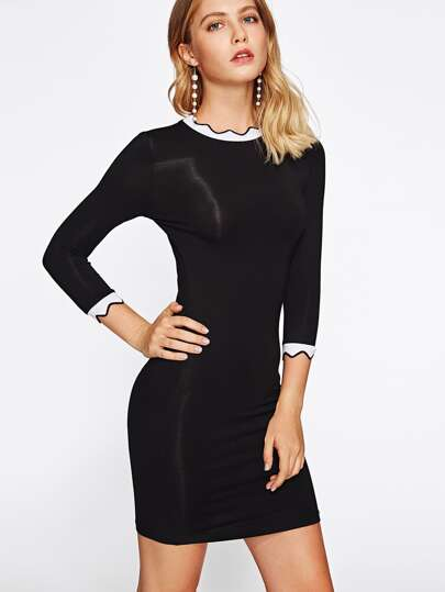 Contrast Scalloped Rib Trim Dress