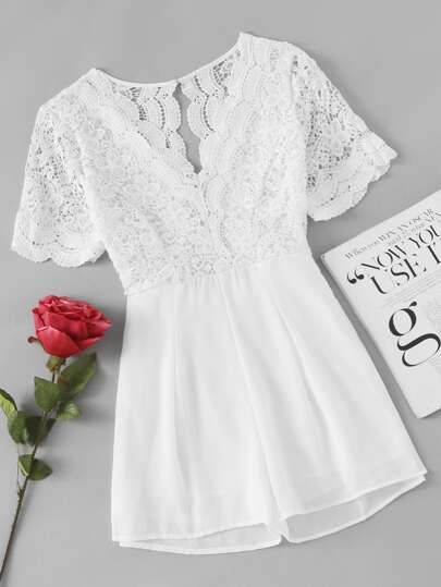 Lace Panel Scalloped Trim Open Back Romper