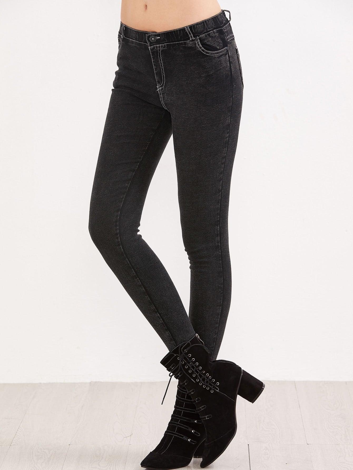 Купить Черные стрейч-карманные тощие джинсы, null, SheIn