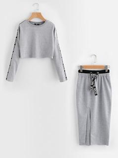 Printed Tape Detail Pullover And Slit Skirt Set