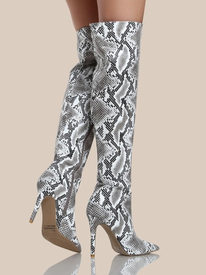 snake print thigh high boots black white shein sheinside