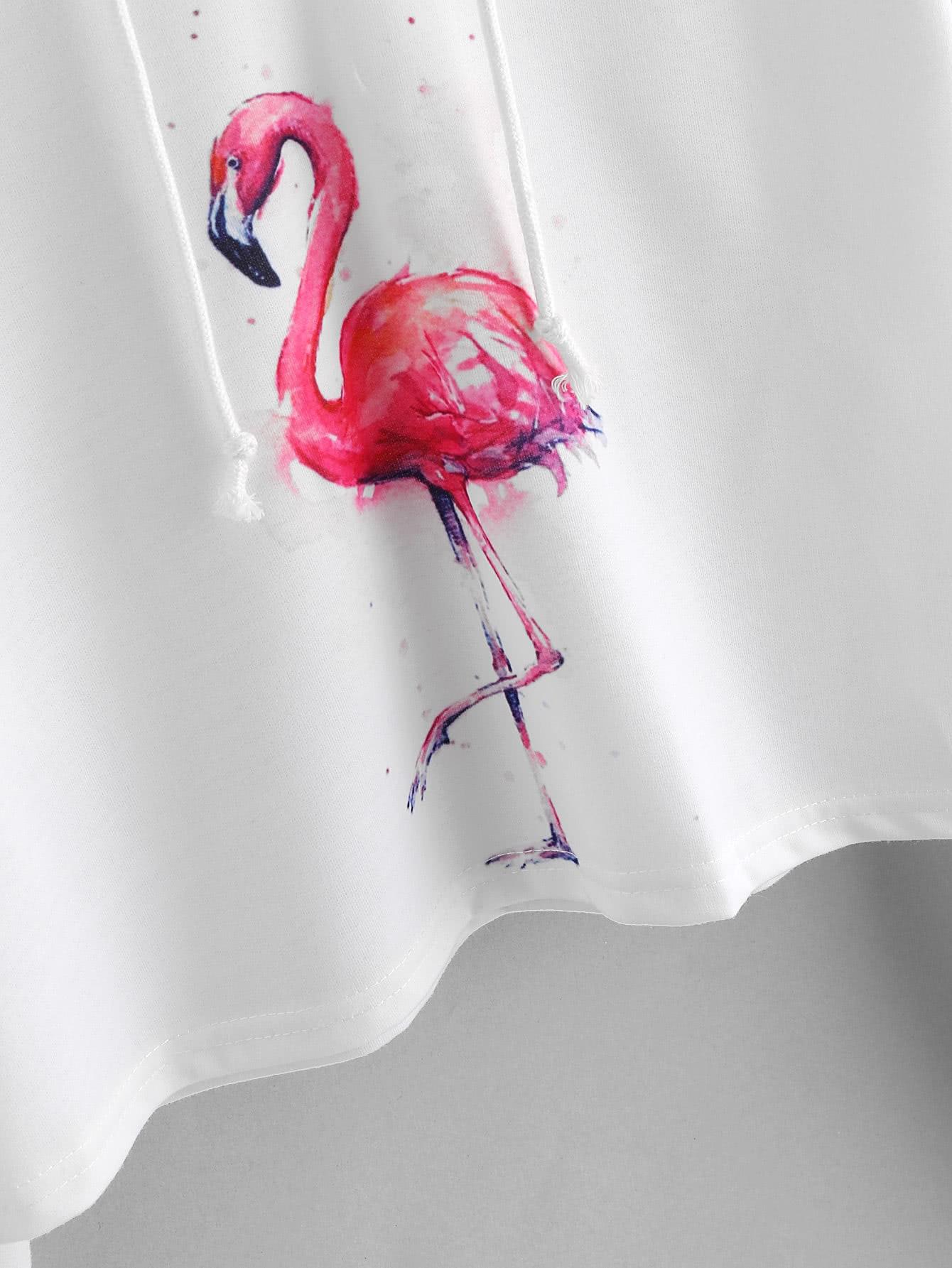 Flamingo Print Drawstring Crop Hoodie