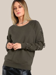 Lace Up Sleeve Top OLIVE