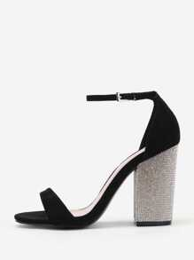Block Heeled Two Part Sandals