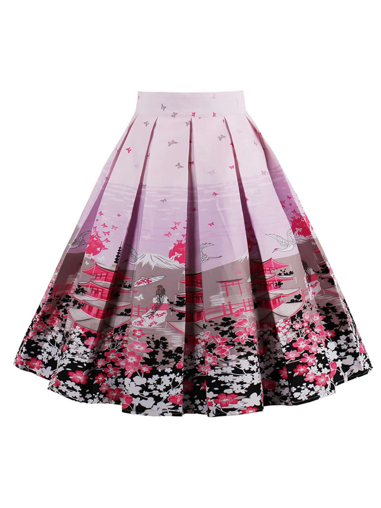 Graphic Print Box Pleated Skirt Emmacloth Women Fast