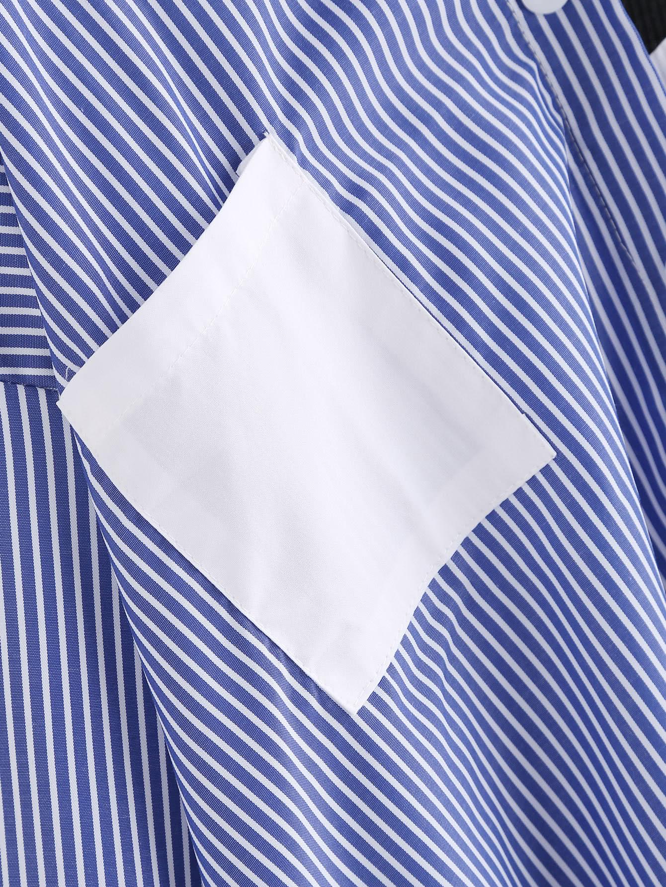 Asymmetric Open Shoulder Contrast Striped Dip Hem Blouse