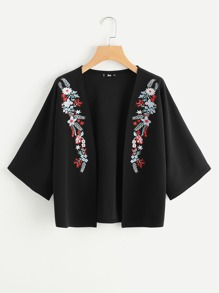 Symmetrical Embroidery Open Front Blazer