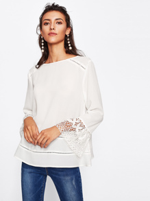 Eyelet Detail Lace Bell Cuff Top