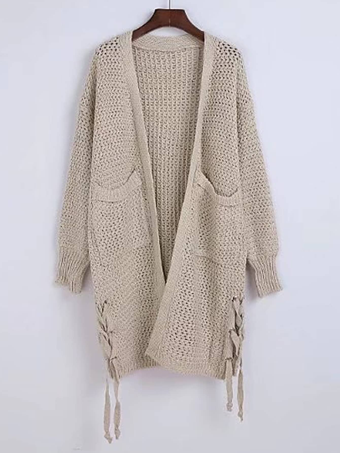 Open Front Lace Up Side Sweater Coat