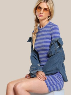 Mock Neck Striped Bodycon Dress BLUE