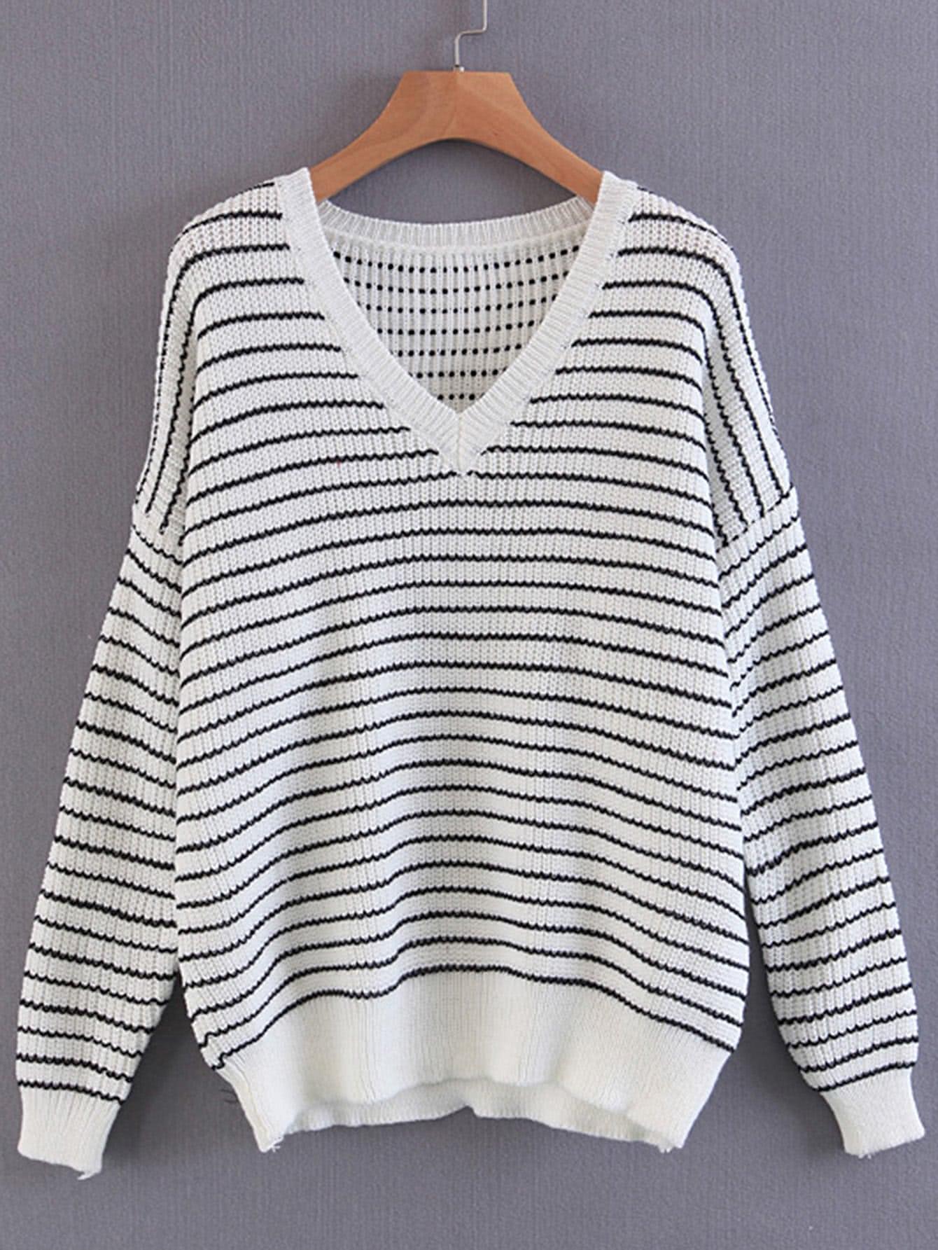 Contrast Striped Drop Shoulder Seam Sweater sweater170814201