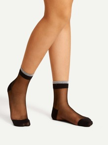 Contrast Trim Mesh Ankle Socks
