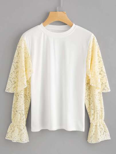 Layered Lace Sleeve Paneled Sweatshirt