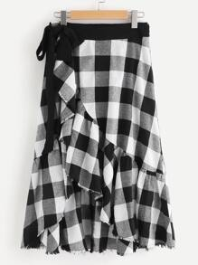 Frayed Ruffle Hem Overlap Checkered Skirt