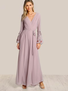 Embroidered Trumpet Sleeve Flowy Jumpsuit BLUSH