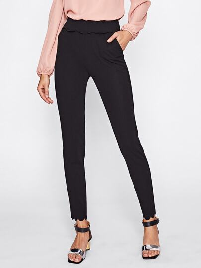 Foldover Waist Scalloped Tailored Pants