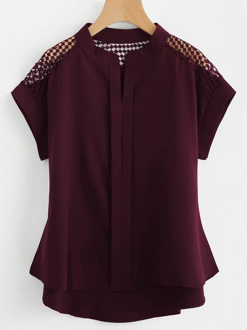 Купить Модная асимметричная блуза с кружевной вставкой, null, SheIn