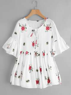Keyhole Tie Neck Flower Embroidered Smock Dress