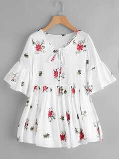 Keyhole Tie Neck Flower Embroidered Smock Dress