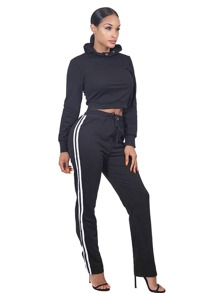 Crop Hoodie With Striped Side Sweatpants