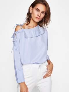 Bow Tie Collared Asymmetric Shoulder Blouse