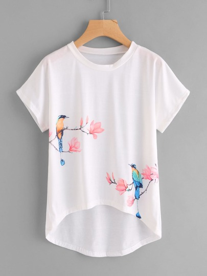 Flower And Birds Print Dip Hem Tee