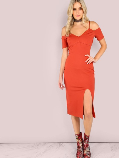 Schlitz Kleid Cut-Outs am Shulter-orange