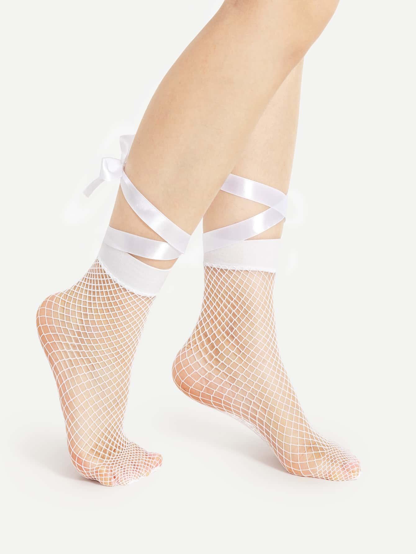 Lace Up Fishnet Ankle Socks fishnet ankle socks