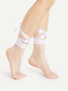 Chaussette cheville avec maille avec lacet