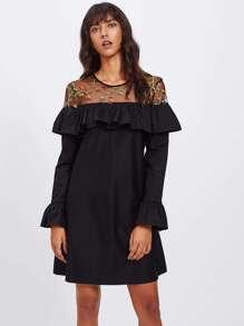 Embroidered Mesh Yoke Flounce Trim Bell Cuff Dress