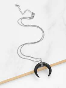 Contrast Moon Pendant Beaded Necklace