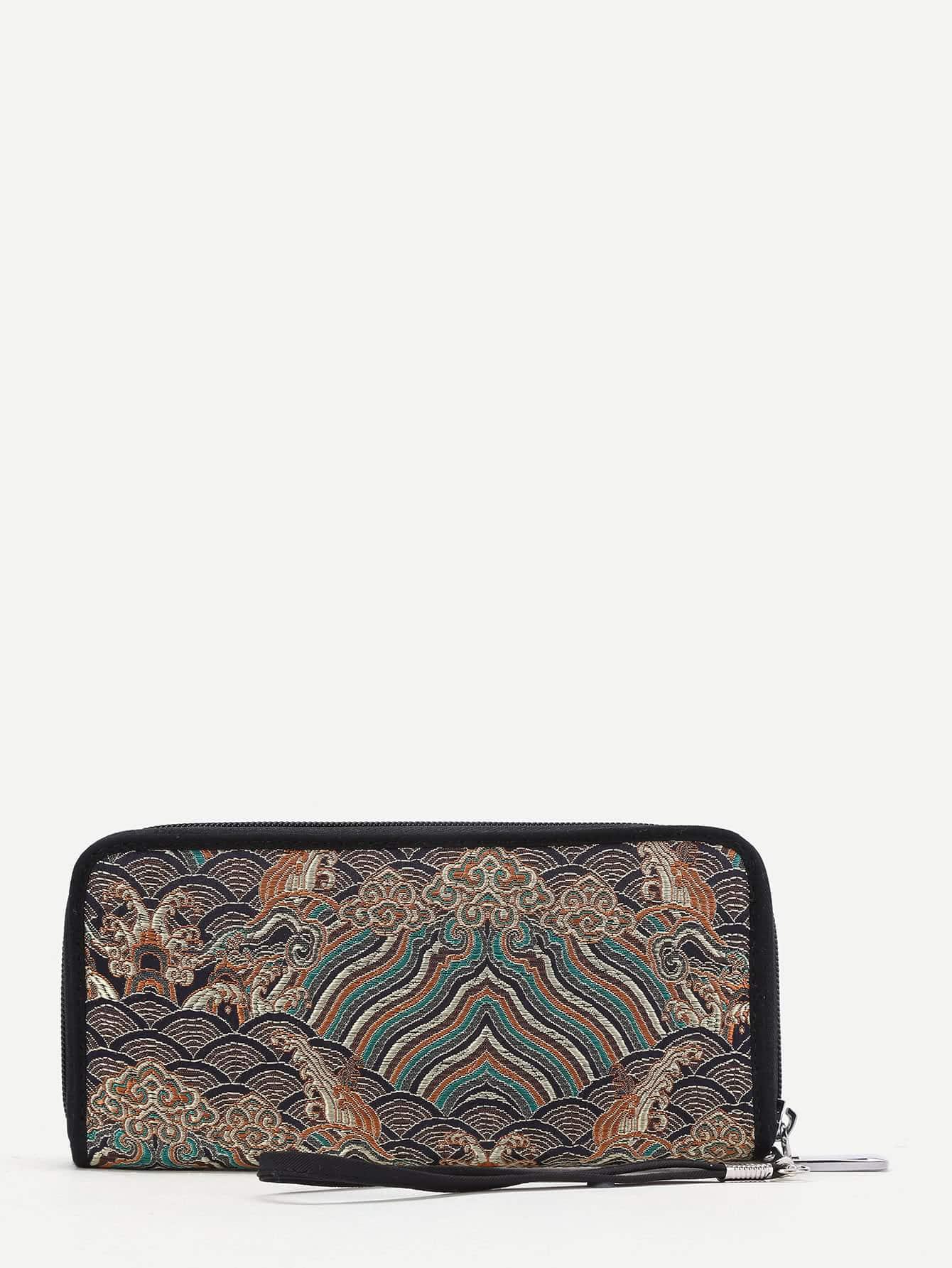 Mixed Pattern Knit Wallet