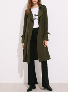 Belted Cuff And Waist Rain Shield Back Trench Coat