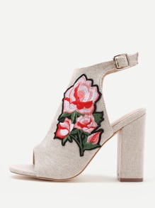 Rose Applique Slingback Peep Toe Block Heels