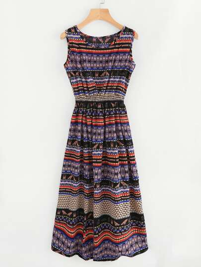 Aztec Print Elastic Waist Dress