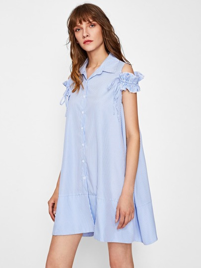 Drawstring Frilled Cold Shoulder Swing Shirt Dress